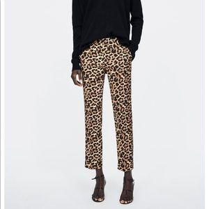 Zara Leopard Print chino pants